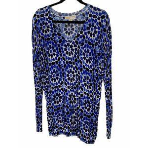 MICHAEL Michael Kors Blue Printed V-Neck Sweater L